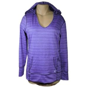 Champion purple pullover pockets hoodie size Large